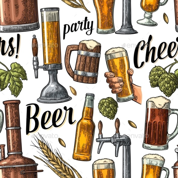 Seamless Pattern Beer Tap, Hand Hold Glass, Bottle - Food Objects