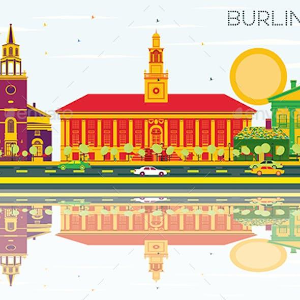 Burlington Skyline with Color Buildings, Blue Sky and Reflections