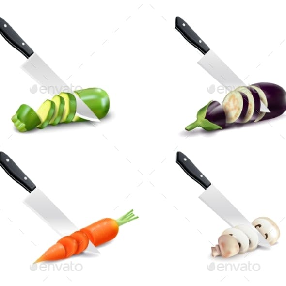 Kitchen Knife and Vegetable 3D Set