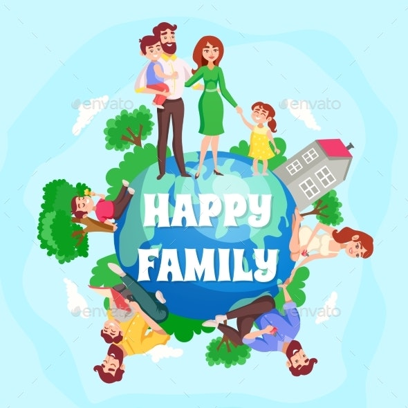 Happy Family Cartoon Composition - People Characters
