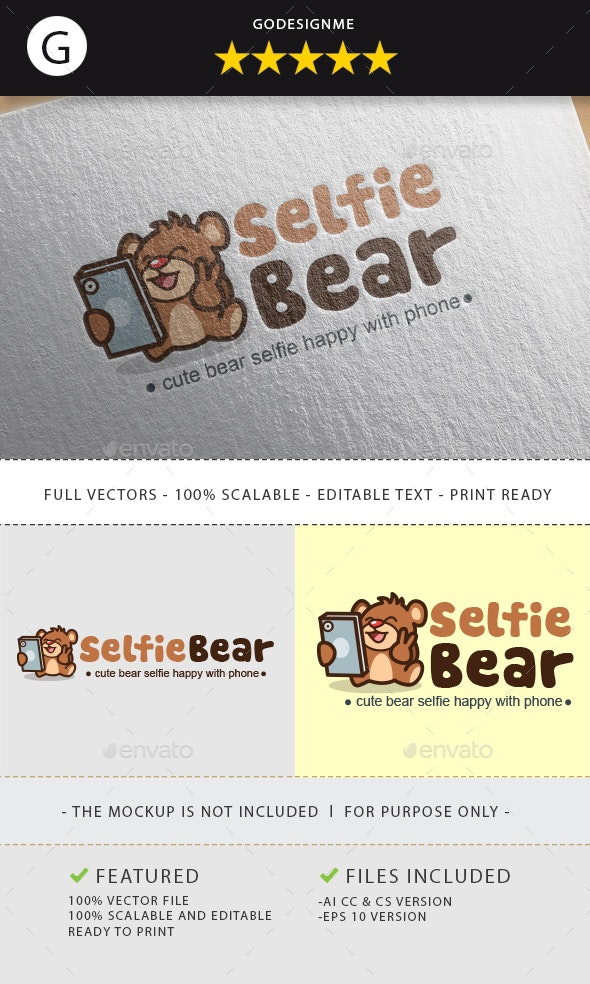 Selfie Bear Logo - Animals Logo Templates