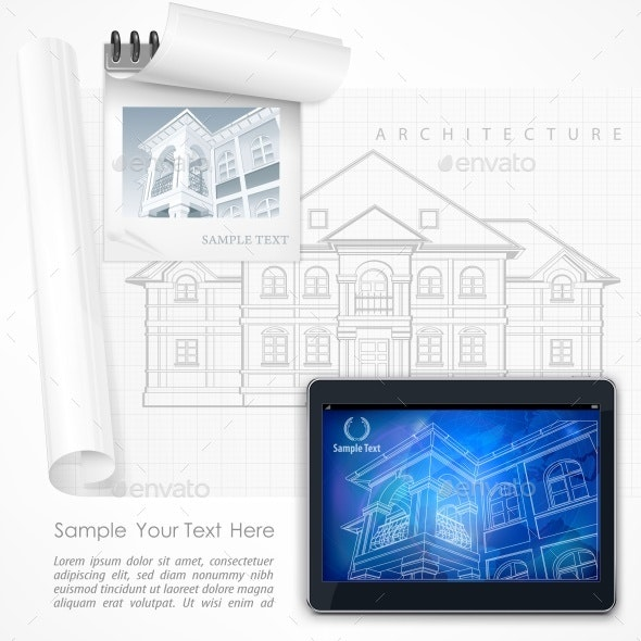 Architectural Detailed Plan at Tablet - Vectors