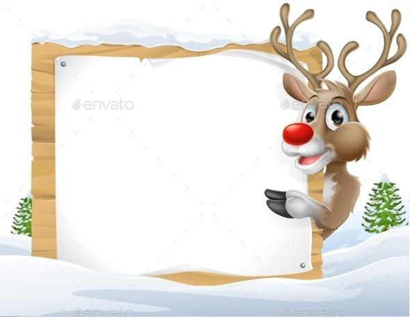 Christmas Reindeer Sign - Miscellaneous Vectors