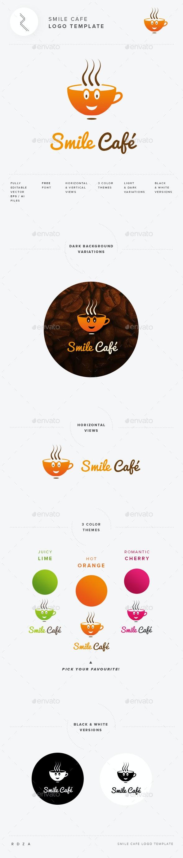 Smile Cafe Logo Template - Restaurant Logo Templates