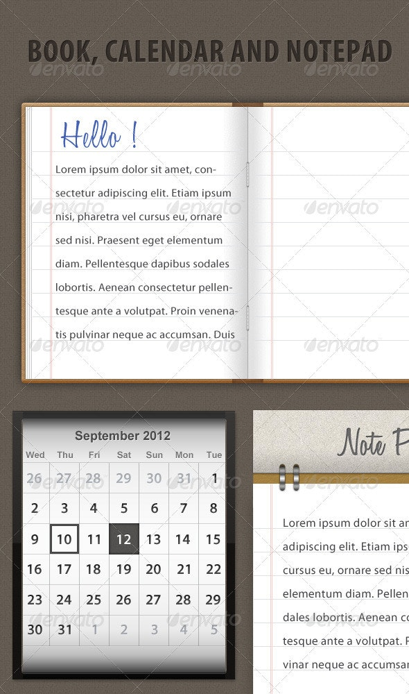 Calendar,Book and Notepad - Miscellaneous Web Elements