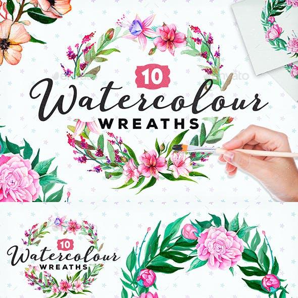 10 Handpainted Watercolour Wreaths