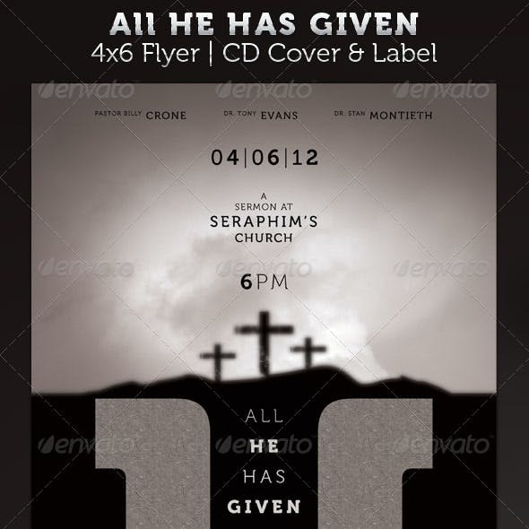 All He Has Given 4x6 Flyer and CD Cover Template