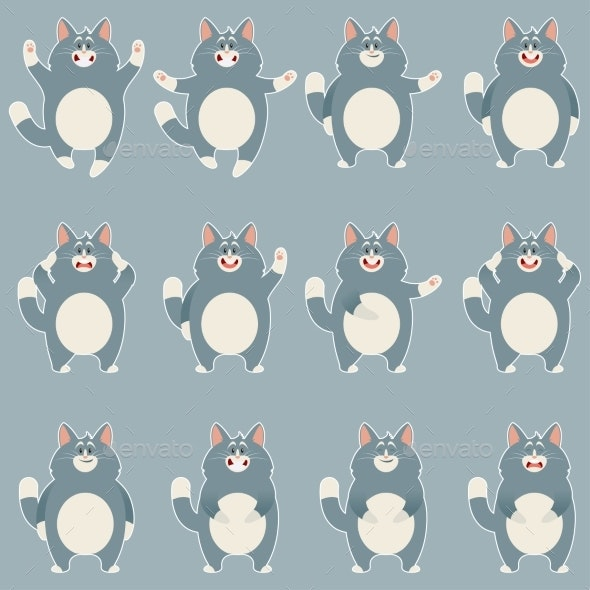 Set of Flat Grey Cat Icons - Animals Characters