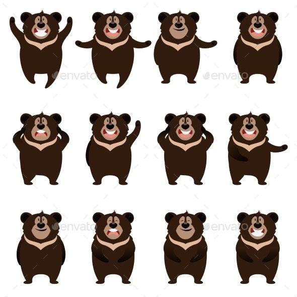 Set of Flat Moon Bear Icons - Animals Characters