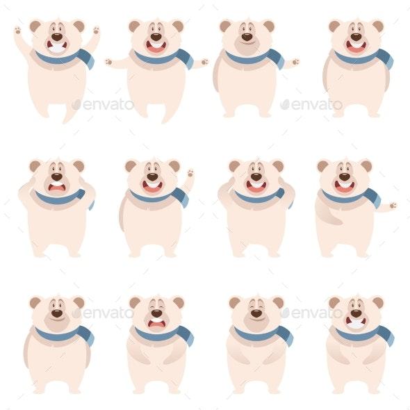 Set of Flat Polar Bear Icons - Animals Characters