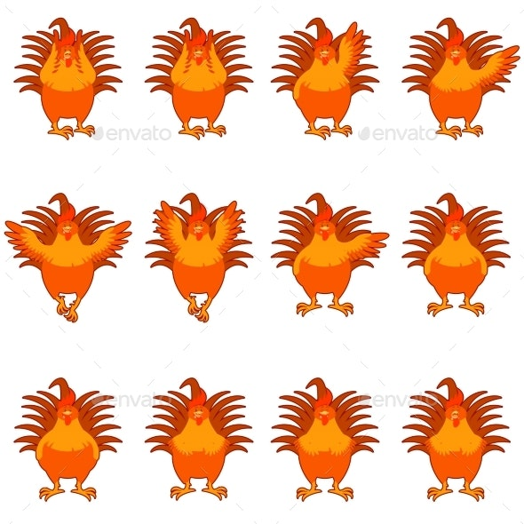 Set of Golden Rooster Flat Icons - Animals Characters