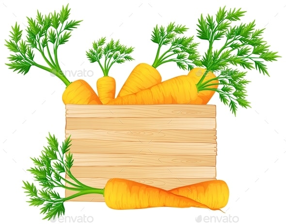 Wooden Box with Carrots - Food Objects
