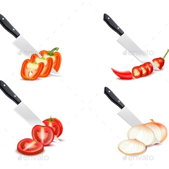 Knife Chopping Vegetable 3D Design Set