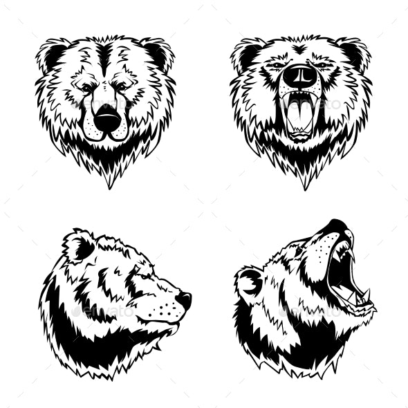 Bear Head Hand Drawn Engravings - Animals Characters