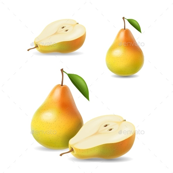 Sliced Yellow Pears with Leaf Vector - Food Objects