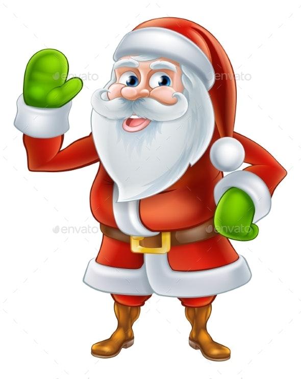Cartoon Santa Waving - Seasons/Holidays Conceptual