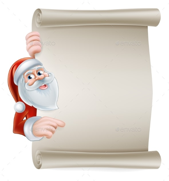 Cartoon Santa Scroll Sign - Seasons/Holidays Conceptual