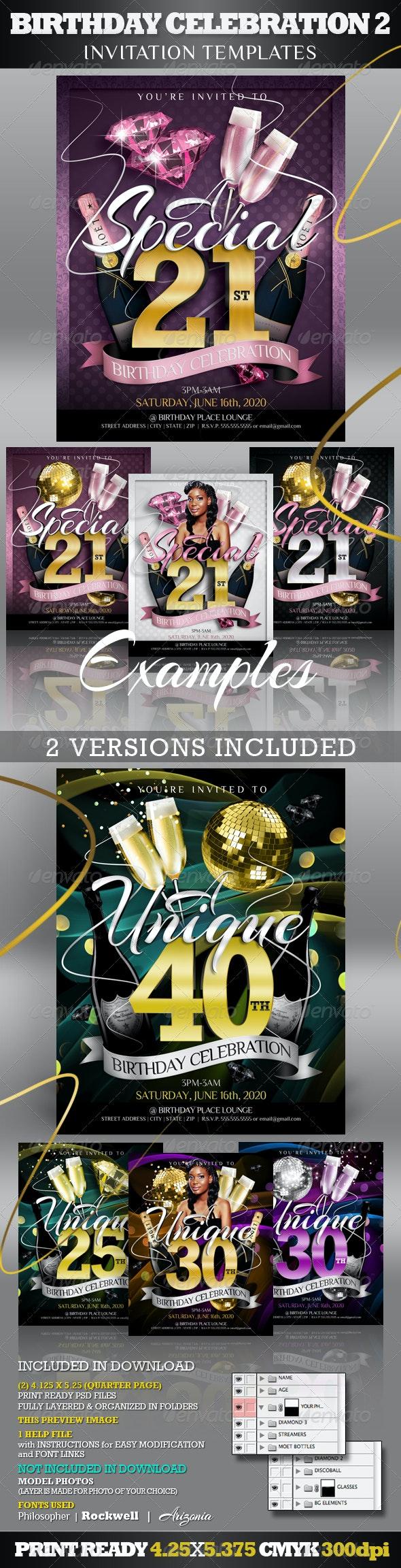 Birthday Invitation Templates 2 - Club Flyer Style - Invitations Cards & Invites