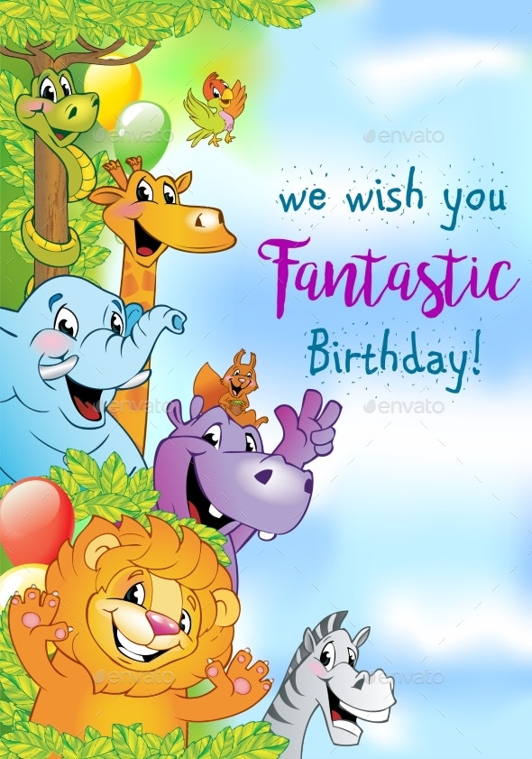 Cartoon Animals Cheerful Background - Animals Characters