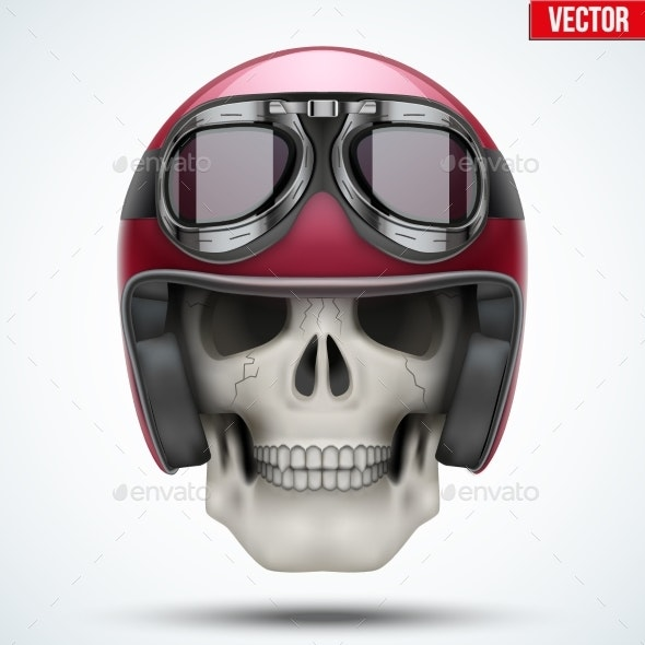 Human Skull with Retro Chopper Helmet - People Characters