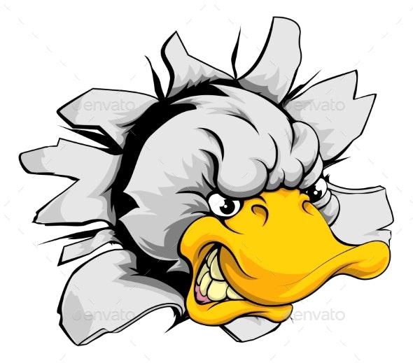 Duck Sports Mascot Breakthrough - Animals Characters