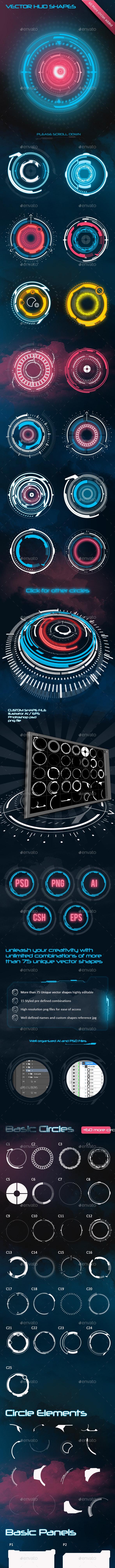 130+ HUD Shapes - Technology Conceptual