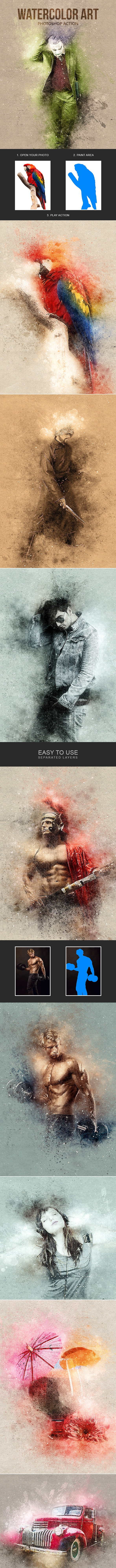 Watercolor Art - Photoshop Action - Photo Effects Actions