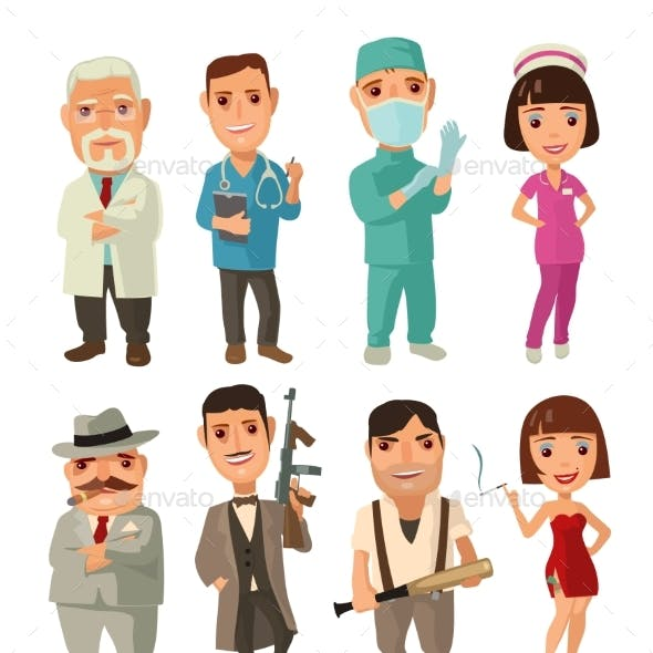 Character Set of Cook, Mafia, Doctor and Waiter