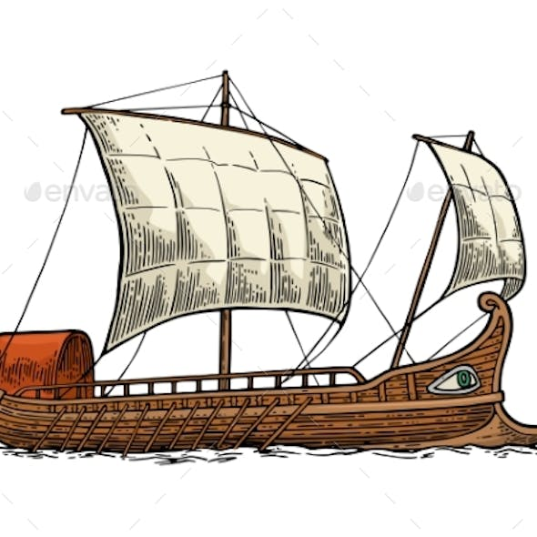 Trireme Floating on the Sea Waves