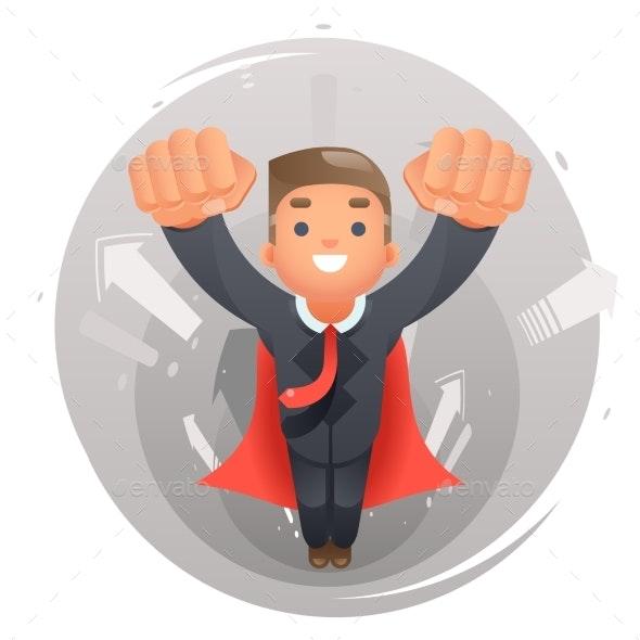 Flying Superhero Businessman Character - People Characters