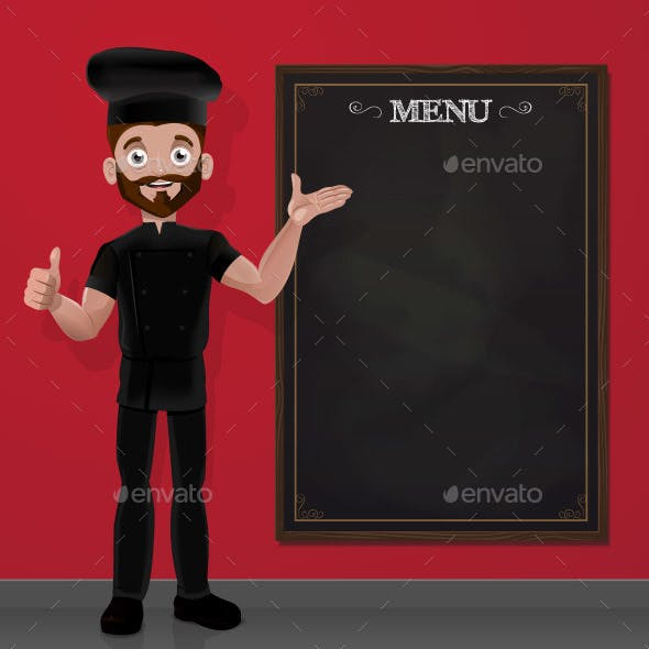 Cartoon Chef and Chalkboard