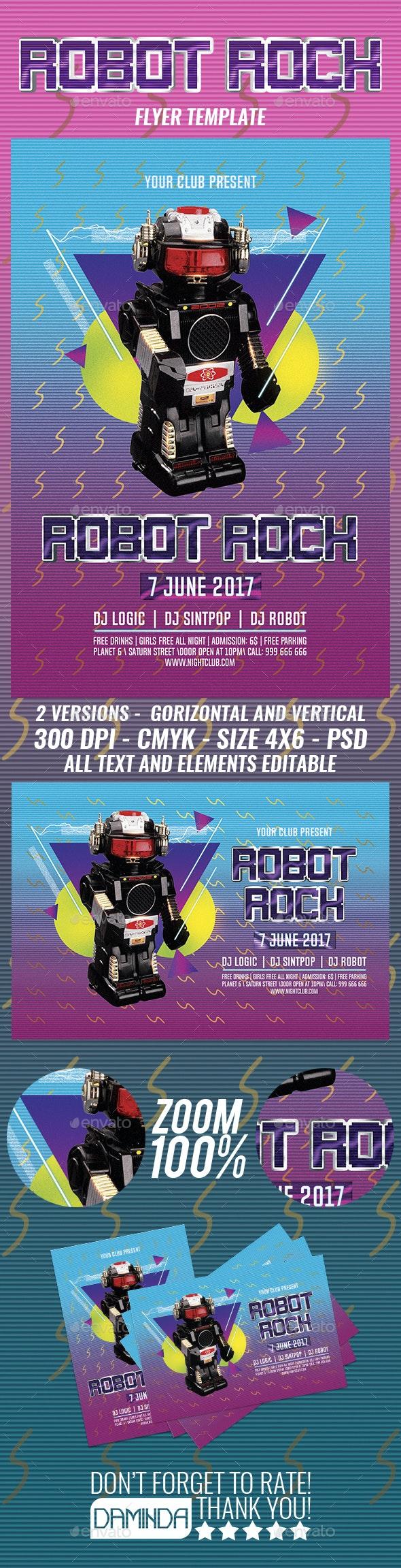 Robot Rock 2 Flyer Template - Clubs & Parties Events