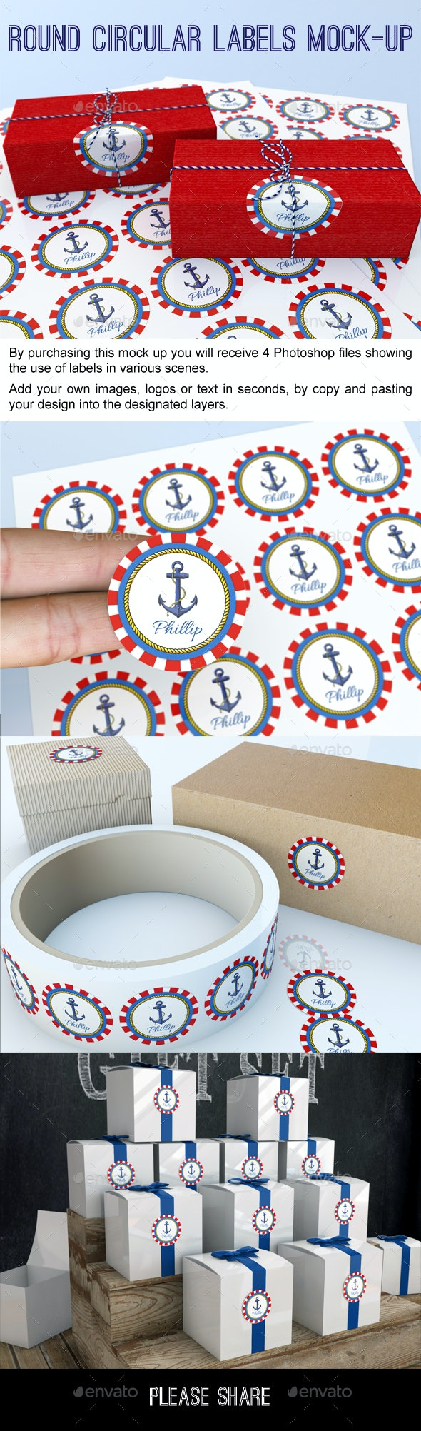 Round circular labels and stickers mock up signage print