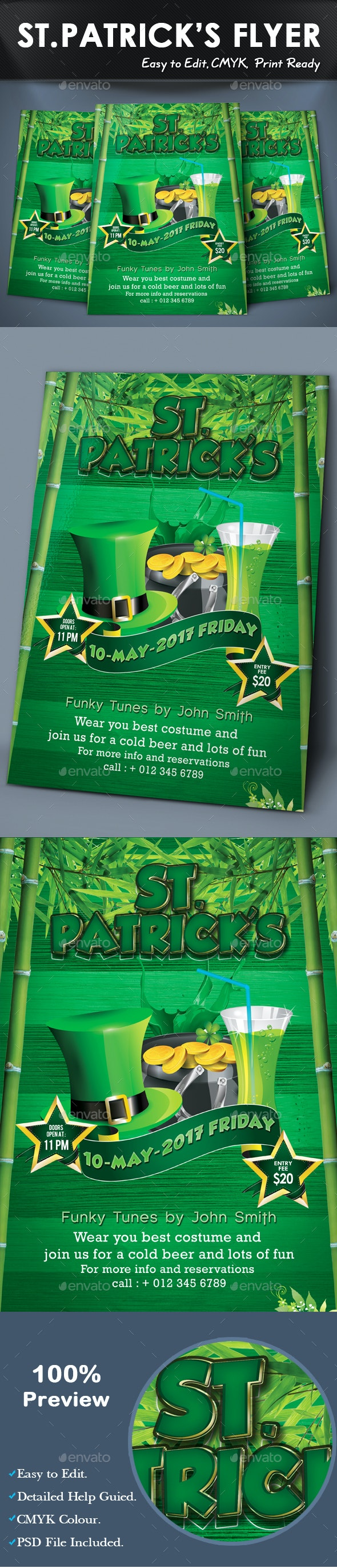 ST. PATRICK'S FLYER TEMPLATE - Flyers Print Templates