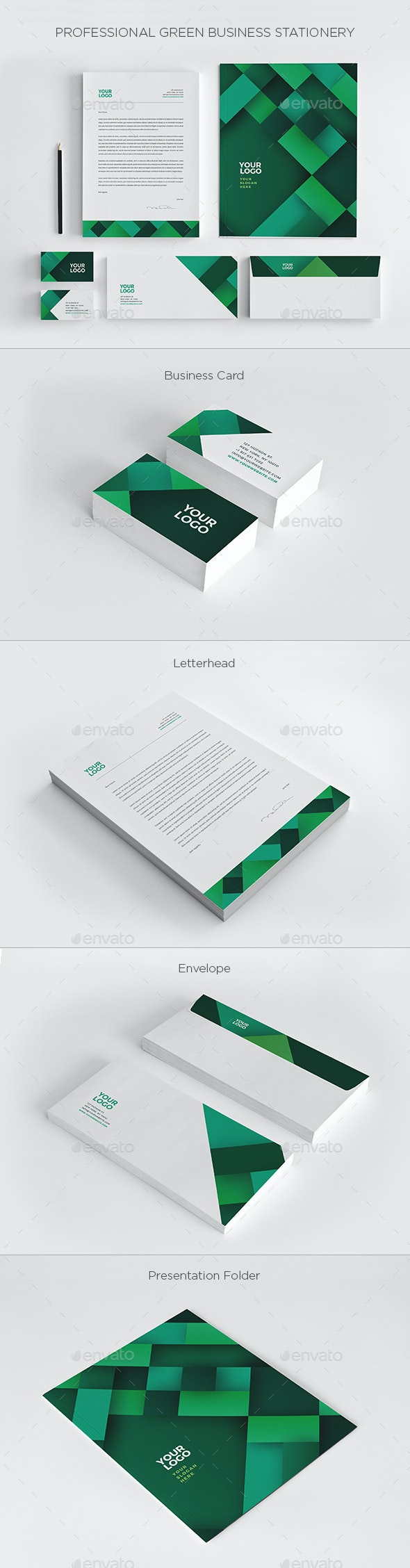 Professional Green Business Stationery - Stationery Print Templates