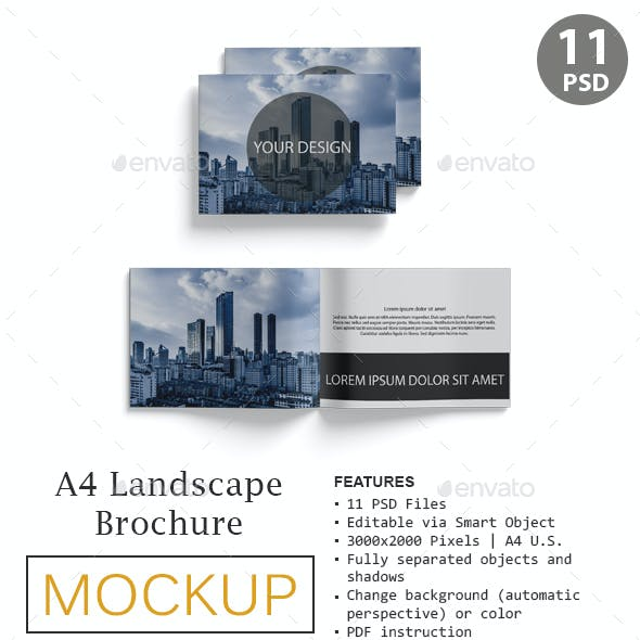 A4 Landscape Brocure Mockup