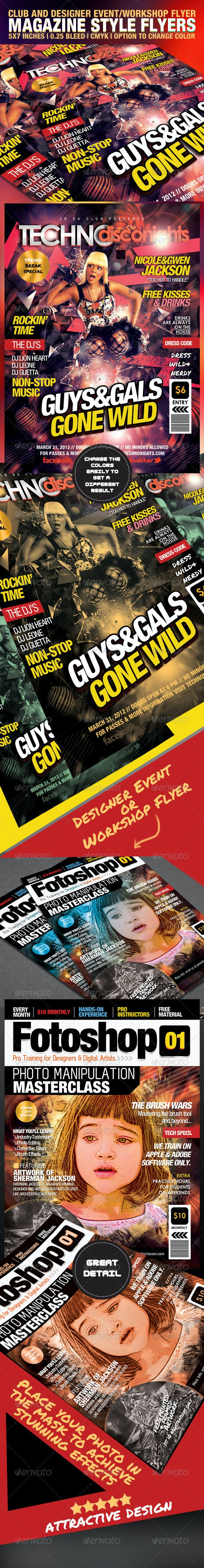 Club & Design Magazine Style Flyer Templates - Clubs & Parties Events