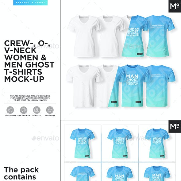 Crew-, O-, V-neck Women & Men Ghost T-shirts Mock-up