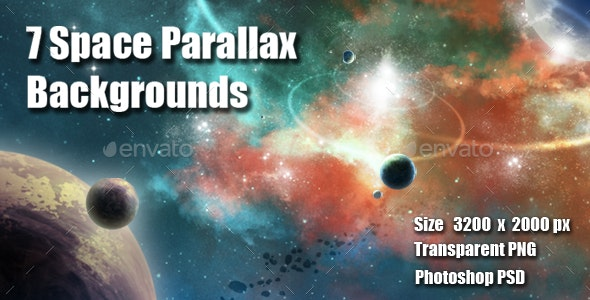 7 Space Parallax Backgrounds - Backgrounds Game Assets
