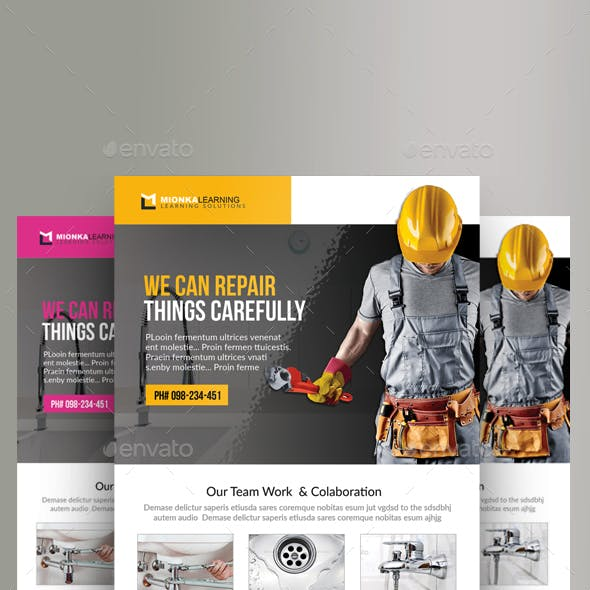 3 Handyman & Plumber Services Flyer Bundle