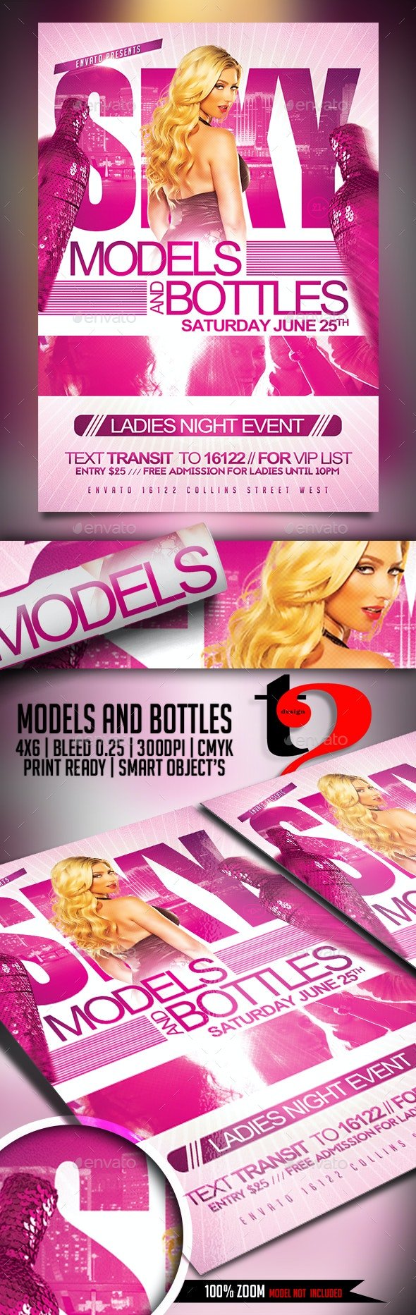 Models and Bottles Flyer Template - Clubs & Parties Events