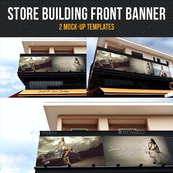 Store Building Front Banner Mock-Up Pack