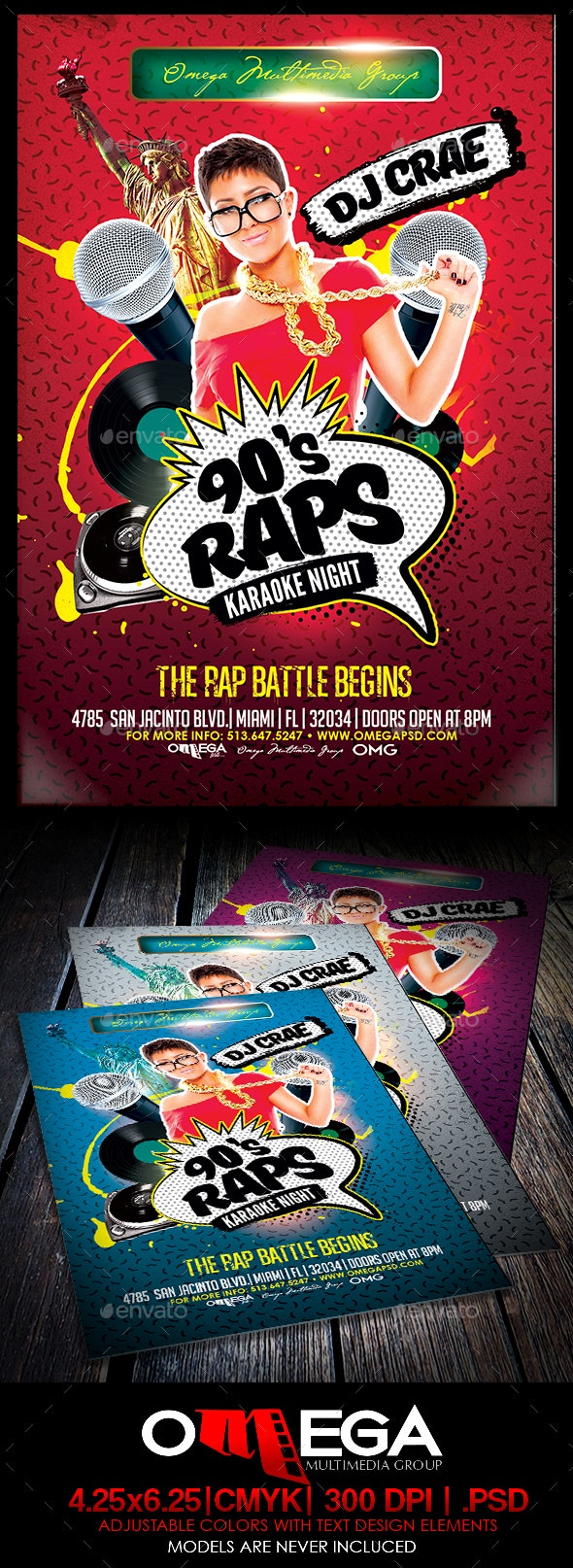 90's Rap Karaoke Night - Flyers Print Templates