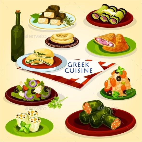 Greek Cuisine Healthy Lunch Cartoon Poster