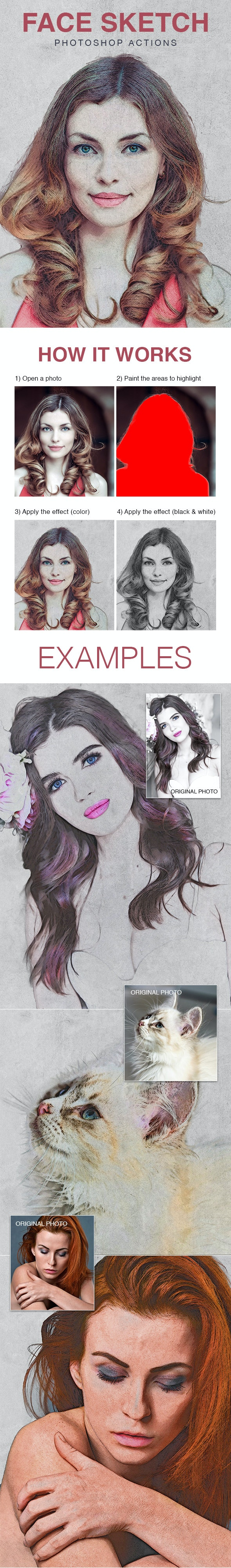 Face Sketch - Photoshop Actions - Photo Effects Actions