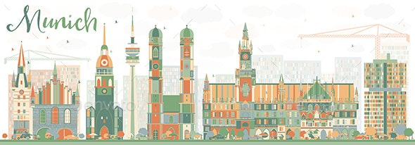 Abstract Munich Skyline with Color Buildings. - Buildings Objects