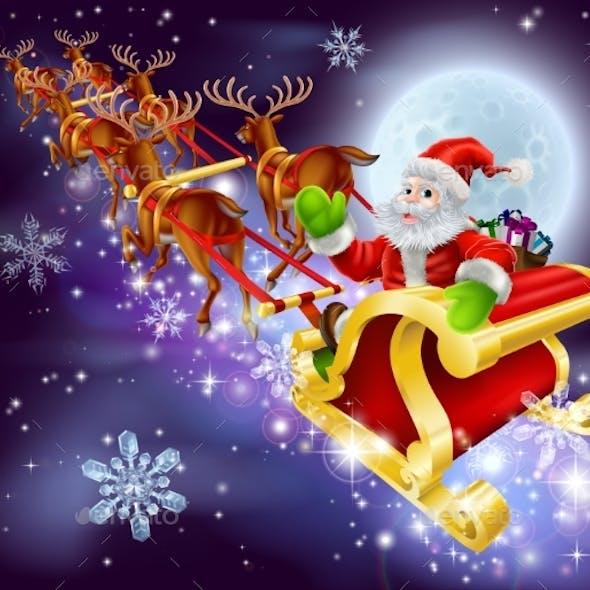 Christmas Santa Flying in His Sled or Sleigh