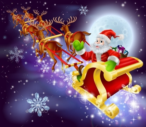 Christmas Santa Flying in His Sled or Sleigh - Backgrounds Decorative