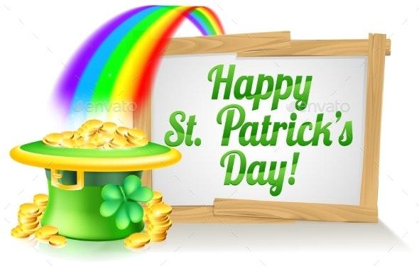 Happy St Patricks Day Sign - Miscellaneous Vectors