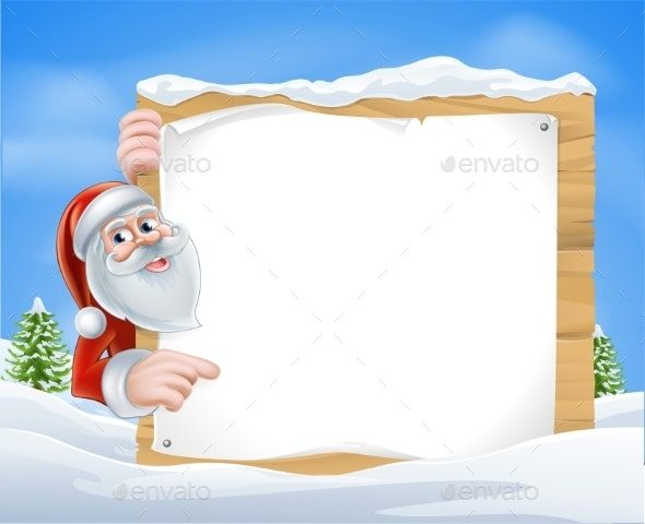 Christmas Cartoon Santa Sign - Miscellaneous Vectors